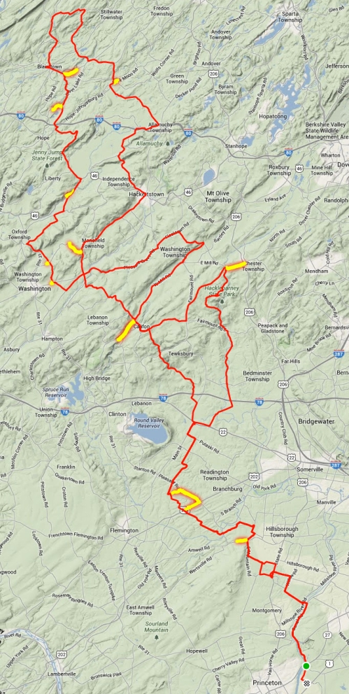 GPS track of me riding the Princeton 300K